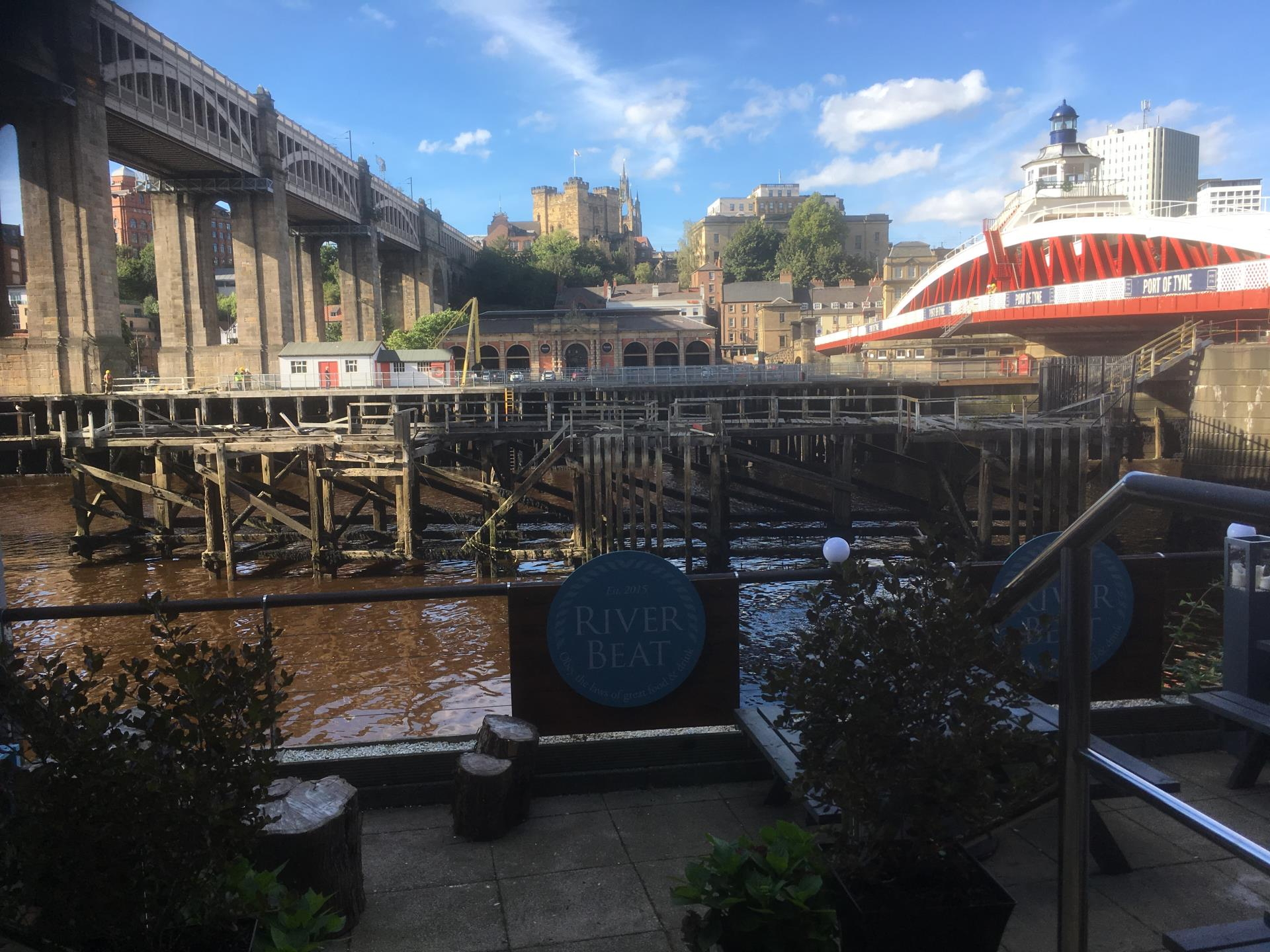 View of Newcastle between High Level Bridge and the Swing Bridge. Terrace, not wheelchair accessible